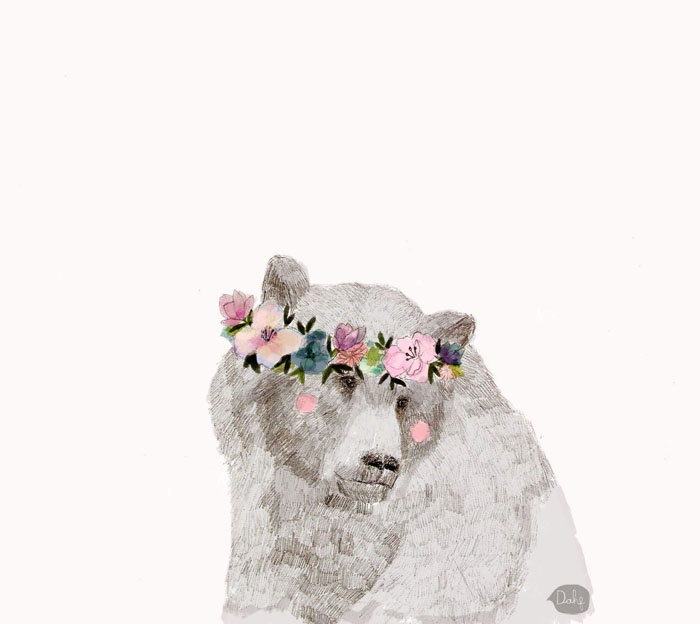 polar bear in a flower crown