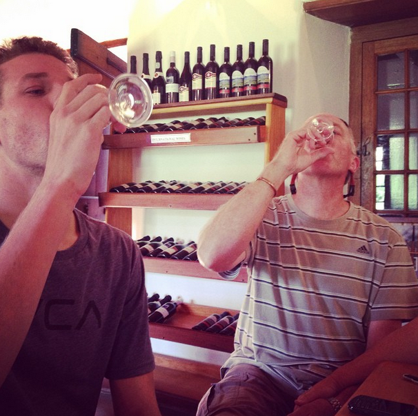 Dad and Ben wine tasting